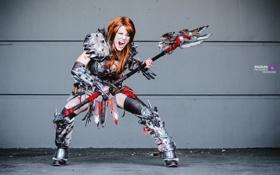 Картинка девушка, поза, доспехи, ярость, секира, Diablo, cosplay