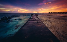 Картинка океан, рассвет, берег, пристань, пирс, Мальдивы