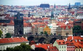 Картинка панорама, дома, Чехия, Карлов мост, башня, Прага