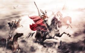 Обои лошади, арт, копье, щиты, валькирия, Richard Wagner, valkyries