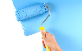Обои white, blue, paint, wall, paint roller