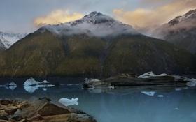 Обои облака, горы, залив, льдины