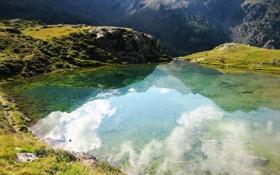 Обои облака, трава, небо, скалы, вода, озеро, деревья