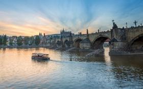 Обои небо, река, Прага, Чехия, собор, кораблик, Карлов мост