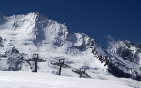 Картинка зима, снег, горы, склон, курорт, Snow morning, подъёмник