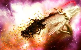 Обои листья, девушка, фантастика, крылья, арт, белые, длинные волосы
