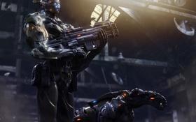 Картинка металл, оружие, собака, роботы, арт, зверь