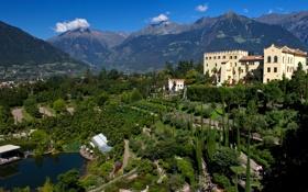 Обои деревья, горы, дизайн, пруд, сад, Италия, панорама