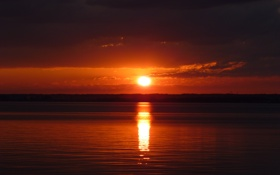 Картинка вода, солнце, закат, река