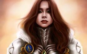 Обои девушка, лицо, арт, доспех, Mochifin, Isabel, Heroes of Might & Magic 5