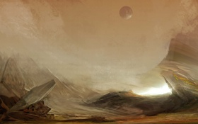 Обои скалы, ландшафт, планета, арт, фантастический мир