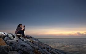 Картинка море, девушка, пейзаж, закат
