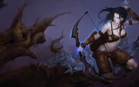 Обои девушка, магия, лук, стрелы, руны, league of legends