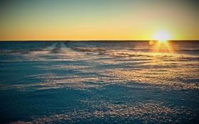 Картинка закат, пейзаж, горизонт, небо, солнце, восход, поле