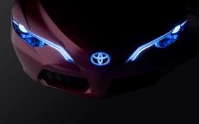 Обои фары, вид, неон, Toyota