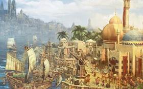 Обои море, город, корабль, здания, парусник, Anno 1404