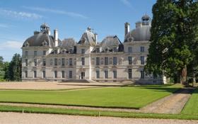 Обои замок, газон, Франция, дорожка, France, Замок Шеверни, Chateau de Cheverny