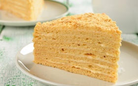 Обои еда, торт, Наполеон, крем, десерт, выпечка, кусок