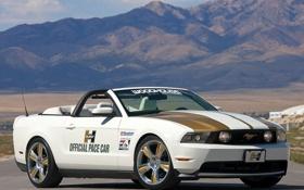 Обои Mustang, Ford, Горы, Горизонт, Пустыня, Машина, Кабриолет
