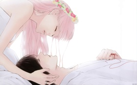 Обои девушка, кольцо, парень, венок, из цветов