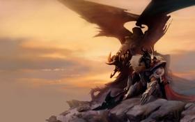 Картинка скалы, воин, арт, горы, девушка, оружие