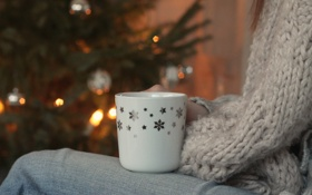 Обои снежинки, рисунок, кружка, джинс, свитер