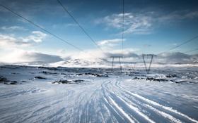 Обои зима, снег, лэп, Iceland