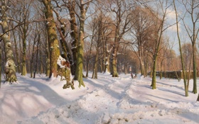 Картинка зима, лес, снег, деревья, дети, парк, забор