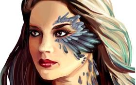 Картинка взгляд, девушка, лицо, волосы, перья, арт