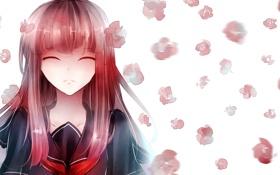 Обои девушка, цветы, фон, арт, закрытые глаза, ryaku-ko