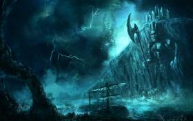 Картинка море, скала, молния, буря, арт, судно, секира