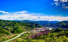 Картинка облака, река, небо, солнце, леса, Босния и Герцеговина, панорама