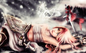Картинка меч, девушка, girl, art, воин, sword fighting, арт