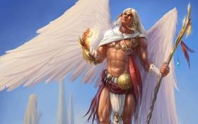Обои украшения, скалы, магия, крылья, ангел, перья, арт