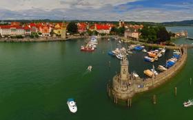 Обои озеро, дома, лодки, Германия, Бавария, катера, набережная