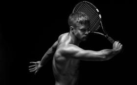 Обои тело, ракетка, парень, теннис