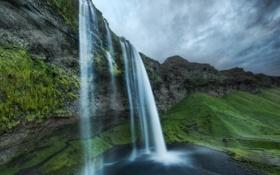 Обои камни, скалы, фото, вода, брызги, обои, водопады