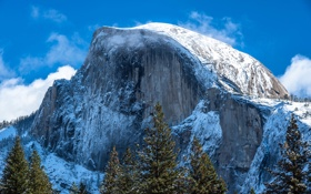 Картинка США, облака, Yosemite National Park, скалы, небо, Национальный парк Йосемити, Калифорния