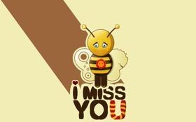 Обои пчела, надпись, вектор, грустная