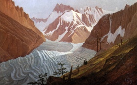 Обои ледник, пейзаж, Монбланский Горный Массив, люди, деревья, горы, Карл Густав Карус