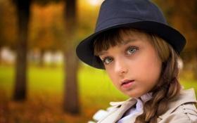 Обои девочка, портрет, шляпка