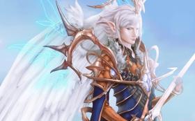 Обои магия, крылья, меч, мужчина