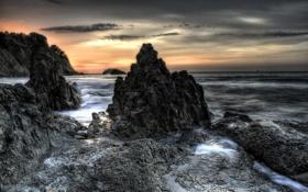 Картинка природа, ночь, море
