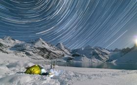 Обои вода, снег, горы, лыжи, выдержка, палатка