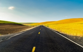 Обои road, дорога, холмы, природа, usa, поля