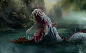 Обои озеро, люди, лодка, чудовище, попали, the lake lurker