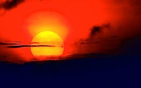 Обои небо, солнце, облака, закат, зарево