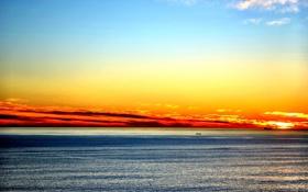 Картинка небо, закат, океан, корабли