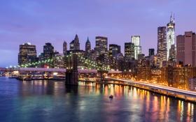 Картинка дорога, свет, мост, город, огни, река, Нью-Йорк