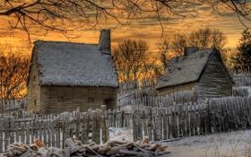 Картинка зима, небо, облака, снег, деревья, пейзаж, закат